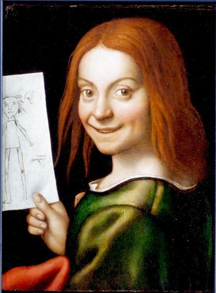 Giovanni Francesco Caroto, Ritratto di giovane con disegno infantile