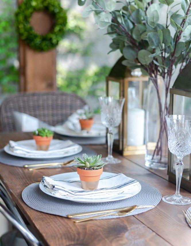 Gold Lantern, Succulent Place Card Holder, Grosgrain gray white striped napkin, gold flatware - Summer Table Setting in Gray, White, Gold - Summer Table Setting Ideas