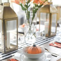 Fall Table Setting in Orange, Black & White