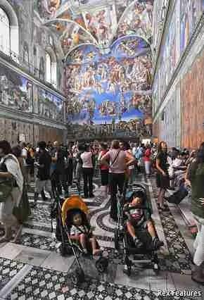 A very crowded Sistine Chapel ( (c) The Economist)