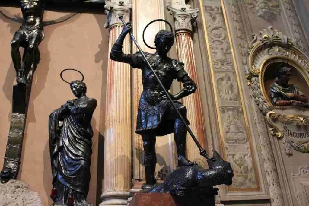 Bronze statue of Saint George in the Cattedrale di San Giorgio (Duomo) of Ferrara