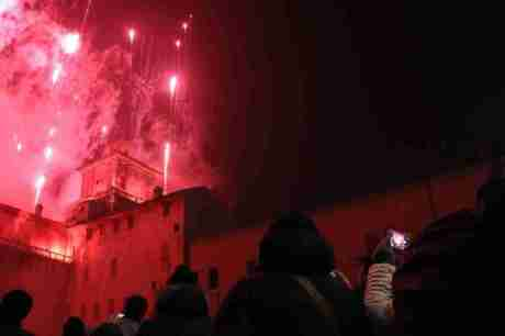 New Year's Eve fireworks over Castello Estense in Ferrara