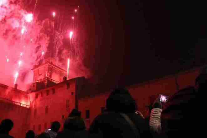 New Year's Eve fireworks over Castello Estense in Ferrara