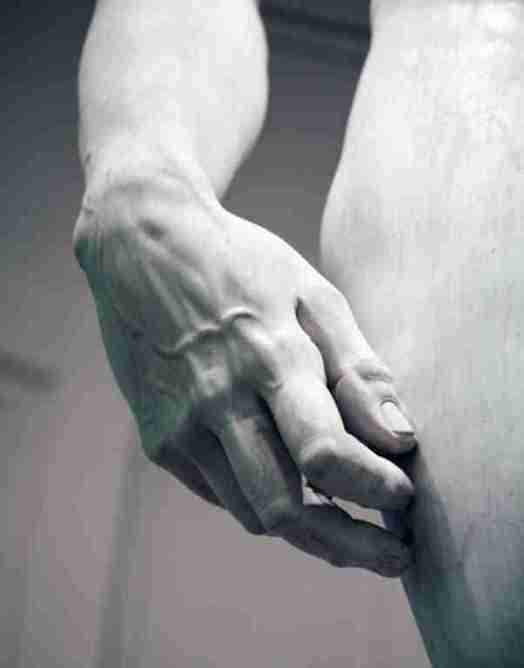 The hand of Michelangelo's David, © Accademia