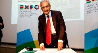 Expo Milano 2015. Il premio Nobel Amartya Sen firma la carta di Milano