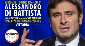 Vittoria. Alessandro Di Battista (M5S) mercoledì primo giugno sarà in città