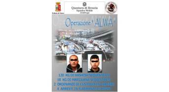 """Operazione """"Alwa"""": 120 kg di hashish e 18 kg di marijuana sequestrati e 4 arresti"""
