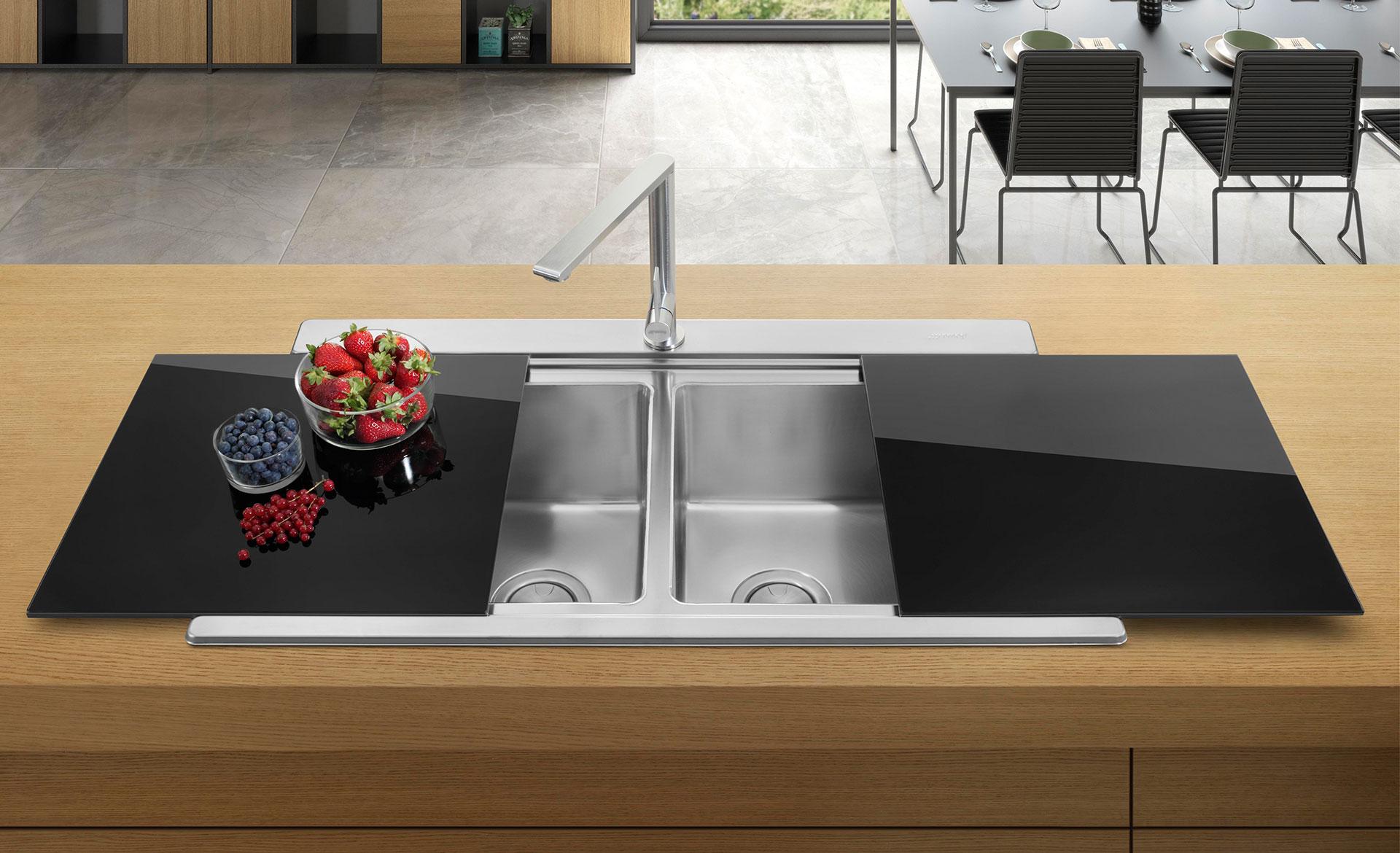 smeg mira black glass stainless steel sink cover set 407 x 446 x 7mm