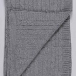Light Grey Pure Cashmere Baby Blanket Cable Knit Italy In Cashmere Uk