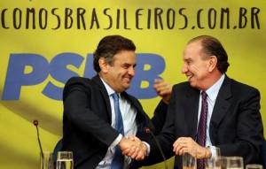 Aécio e Nunes durante convenção em SP (Orlando Brito/PSDB)