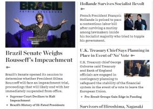 Site do The Wall Street Journal destaca votação do processo do impeachment (Reprodução)