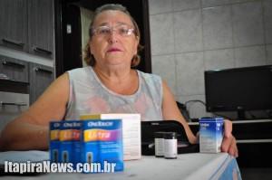 Dona Angelina enfrenta problemas para conseguir meios de controlar diabetes