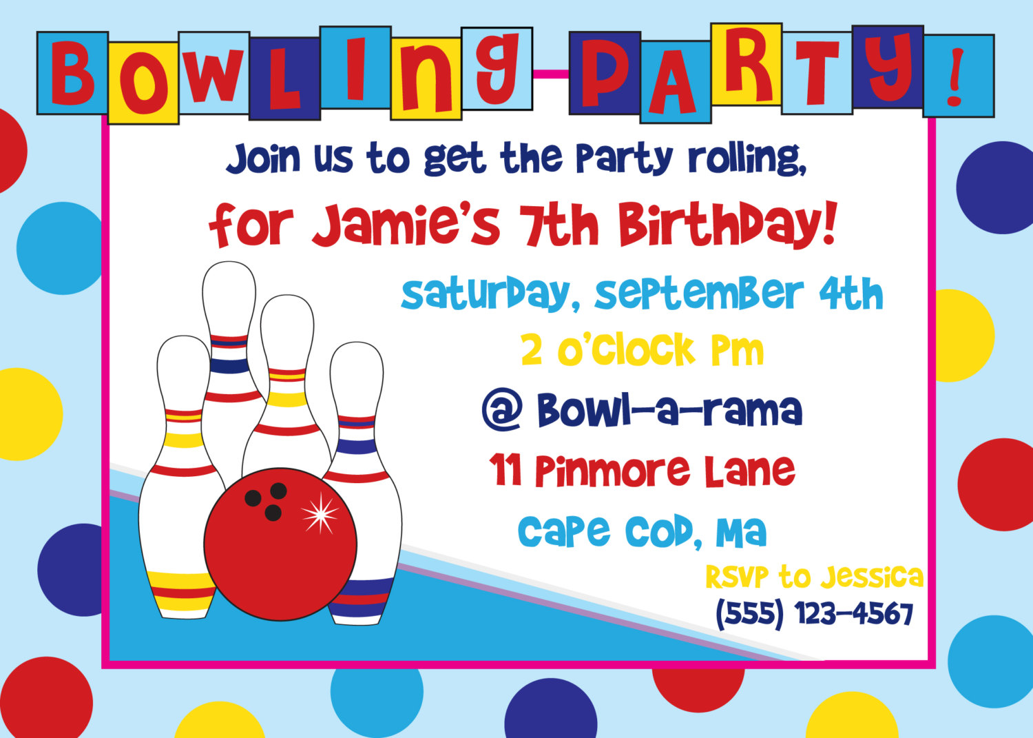 Free Bowling Party Clipart
