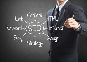 Businessman writing SEO process diagram, Internet concept