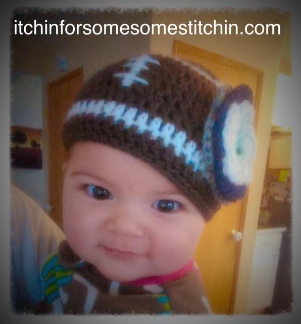 My favorite baby gift pattern: Crochet Football Beanie