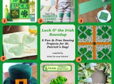Free & Fun St. Patrick's Day Sewing Projects compiled by http://www.itchinforsomestitchin.com