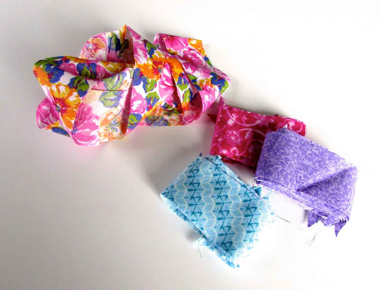 Four continuous bias binding tapes made by www.itchinforsomestitchin.com