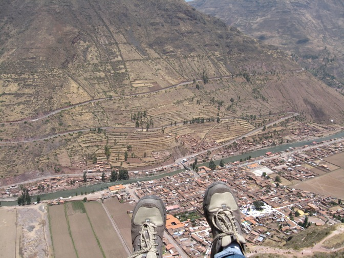 Looking down to Pisac from the ruins.