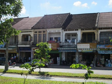 French colonial houses on the riverside in Battambang, Cambodia