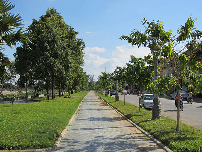 The riverfront path in Battambang, Cambodia