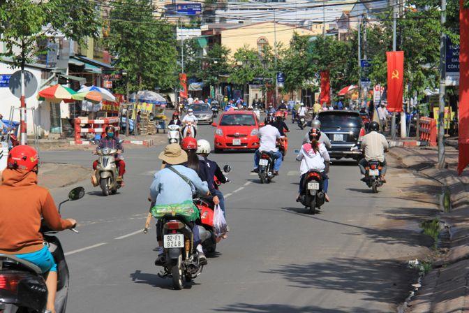 Motorcycles driving in Vietnam