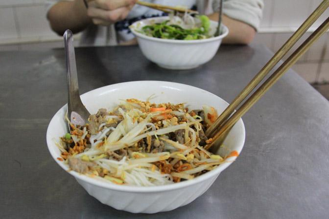 A bowl of bun bo nam bo in Hanoi, Vietnam