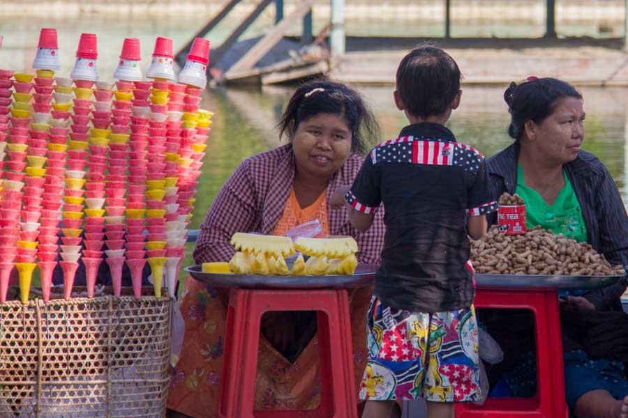 Street snack vendors in Mandalay, Myanmar