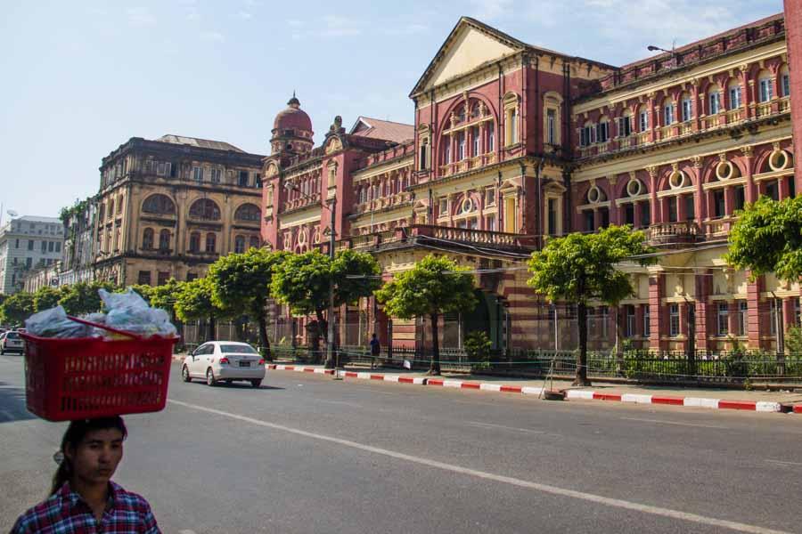 A woman walking in Yangon, Myanmar