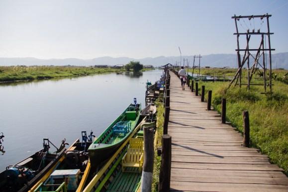 Long wooden pier on Inle Lake, Myanmar