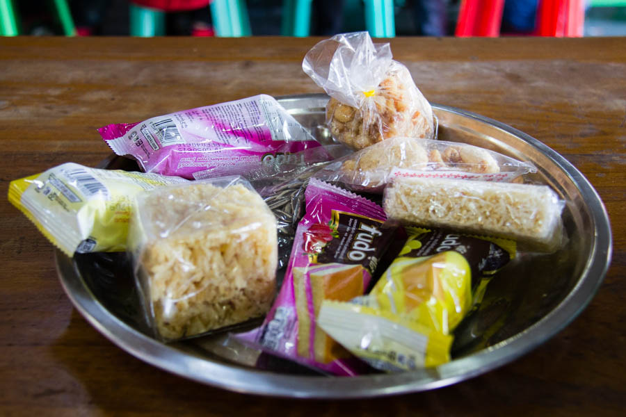 Tray of bus stop snacks in Myanmar