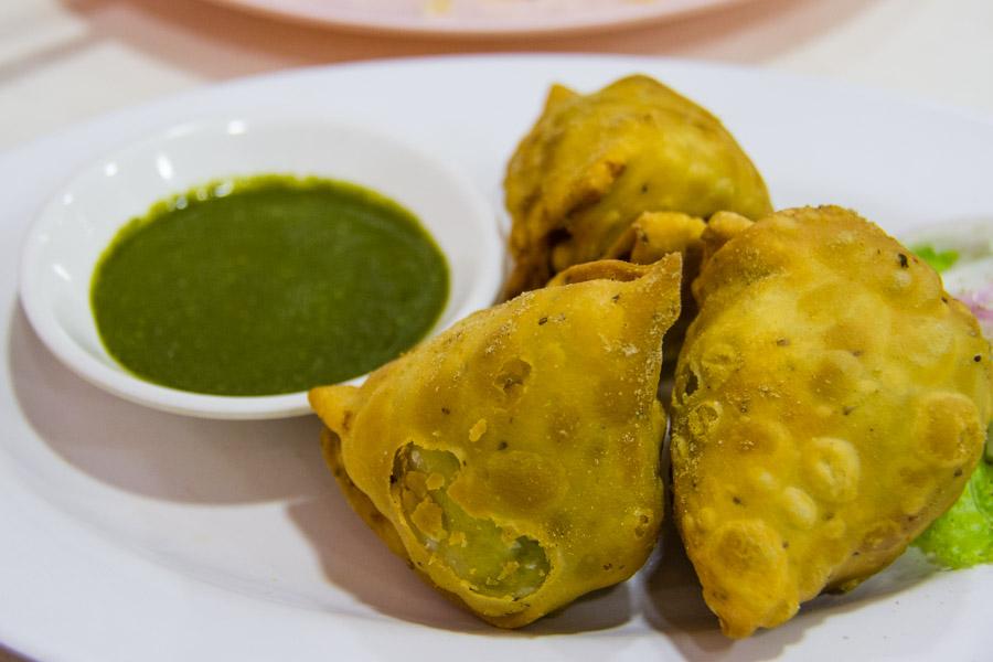 Nilar Biryani's somosas with mint chutney