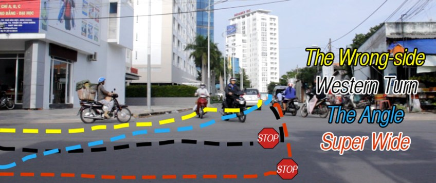 How to Drive in Vietnam - making a left turn