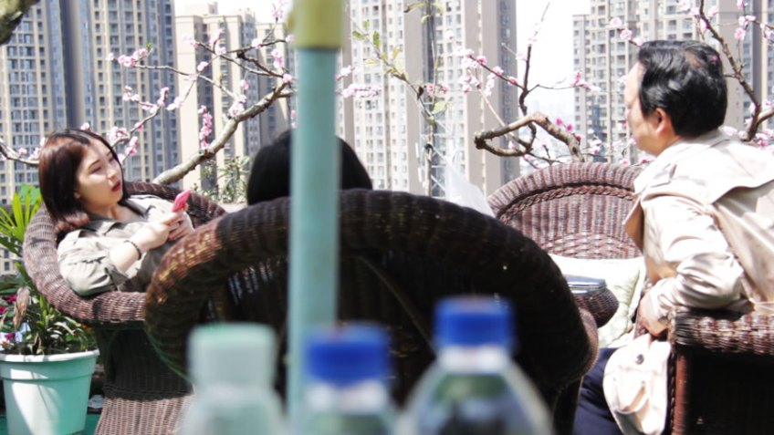tea house at the Longquan Peach Blossom Festival