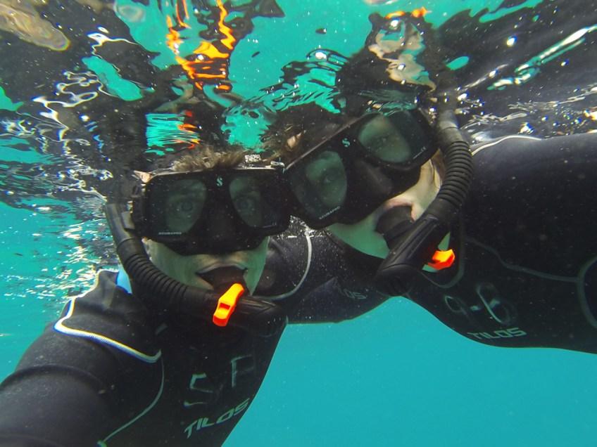 snorkel selfie in the galapagos