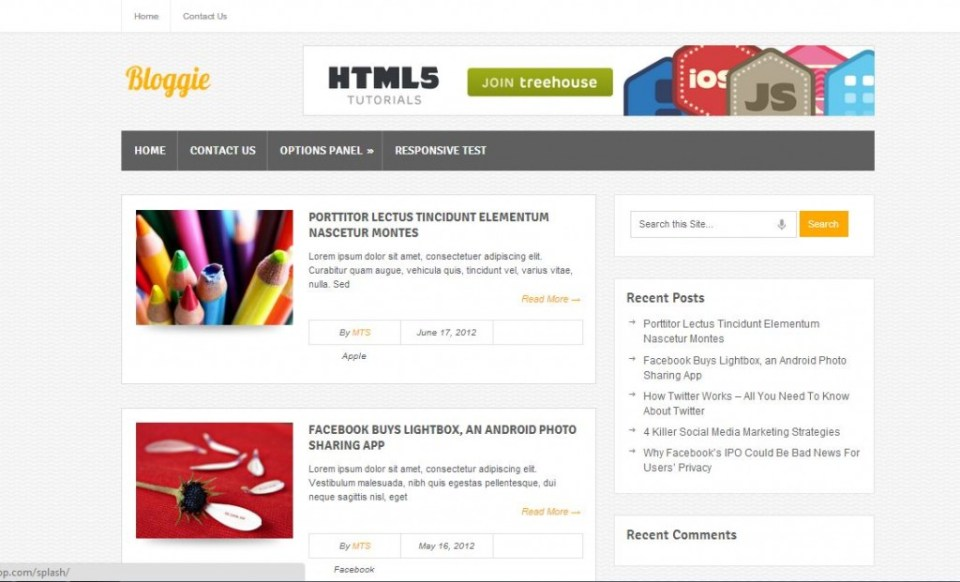 Free wordpress themes bloggie