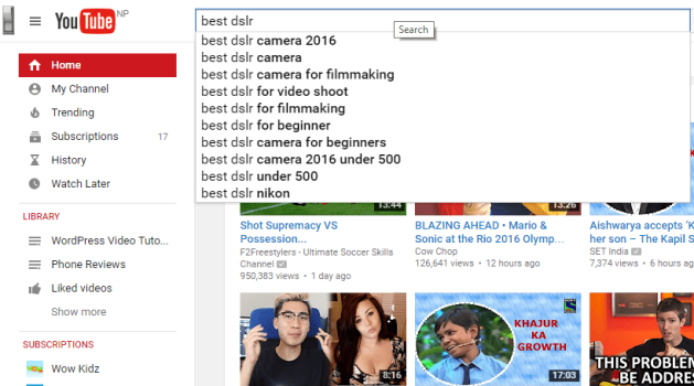 youtube searchbox suggestion for Youtube keyword research suggestion
