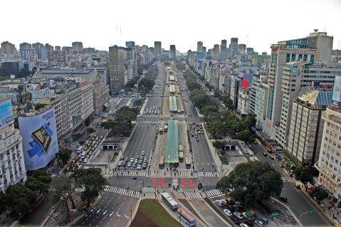 The 2014 Winner, Buenos Aires, Argentina replaced 6 out of 20 car lanes on Avenue 9 de Julio with a high-quality, median-aligned bus corridor. Photo Credit: City of Buenos Aires
