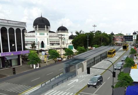 A rendering of the center-aligned BRT corridor