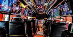 Mbugus Medak – Matatu: The interior of a Kenyan matatu that plies the streets of Nairobi (Mbugus Medak, Wikimedia Commons)