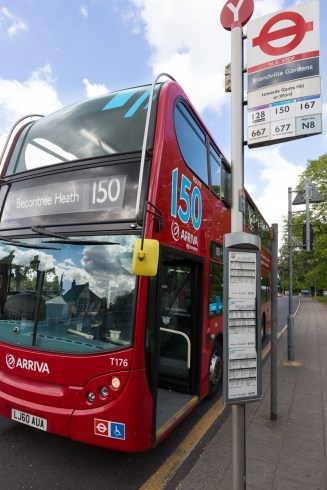 New bus revenue genration project livery trial on the 150 bus, Barkingside, London.
