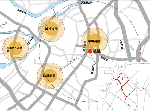 Fig.1 Location illustration for the project of Shibo commercial area at Dongcheng District in Dongguan