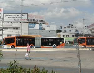 Articulated trunk-line bus with doors on the left