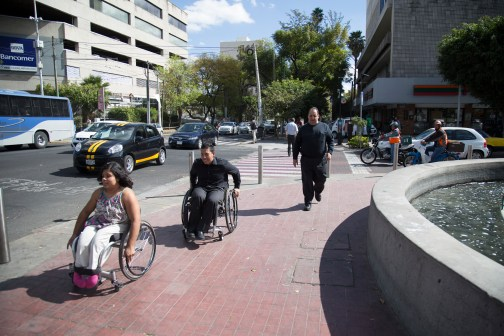"""Pedestrian realm must be accessible to """"pedestrians"""" using all forms of walk aids like here in Guadalajara, Mexico. Photo Credit: Héctor Ríos"""