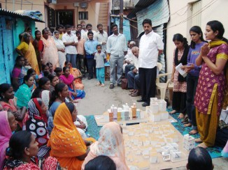 Community workshop in Pune, India for the in-situ slum rehabilitation effort under the Basic Services for Urban Poor project. Photo Credit: Prasanna Desai Architects