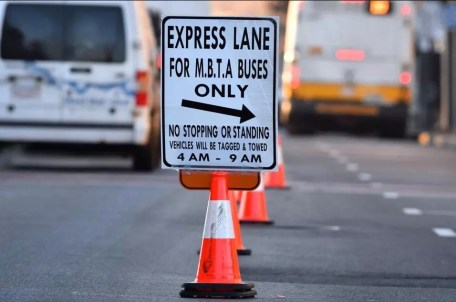 A sign in Everett, MA marks the temporary dedicated bus lane.