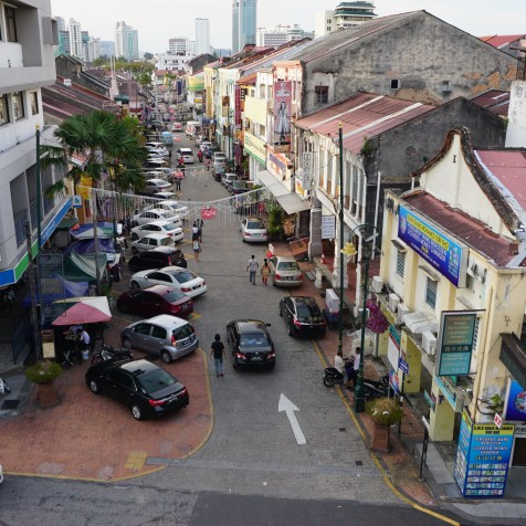 Illegal parking in the George Town Little India, Lebuh Pasar, occupy pedestrian and cyclist space.