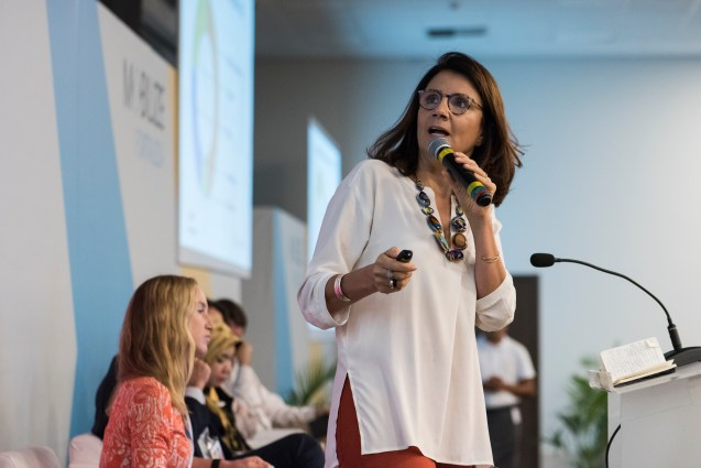 Ana Toni, the Executive Director of the Institute of Climate and Society in Brazil speaks during MOBILIZE plenary on mobilizing for the climate change emergency