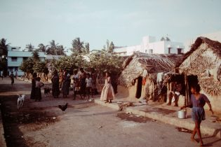 Hut with thatched roof in Madras, India in the 1980s