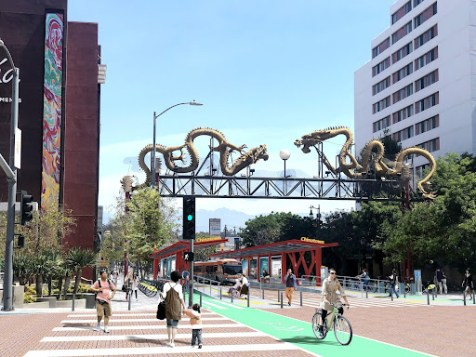 This vision of North Broadway Street and Cesar Chavez Avenue in the Chinatown neighborhood of Los Angeles demonstrates a potential transit street where buses, bikes, micromobility, and pedestrians pass freely and comfortably. Wider sidewalks provide more room for pedestrians and street vending. High-quality bus stations anchor this iconic block and provide rapid, safe, and frequent bus service.