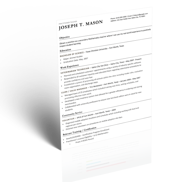 Teacher Resume   5 Minute Guide to Writing the Perfect Resume Download Template Option 1
